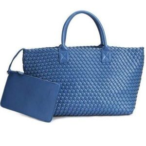 Luxury Royal Blue Vegan Leather Woven Tote